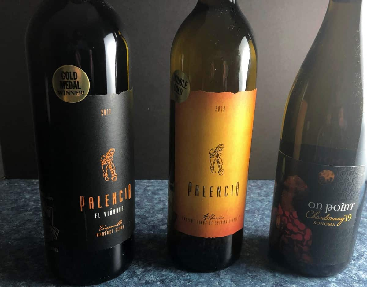 three bottles of wine from the California Wine Club
