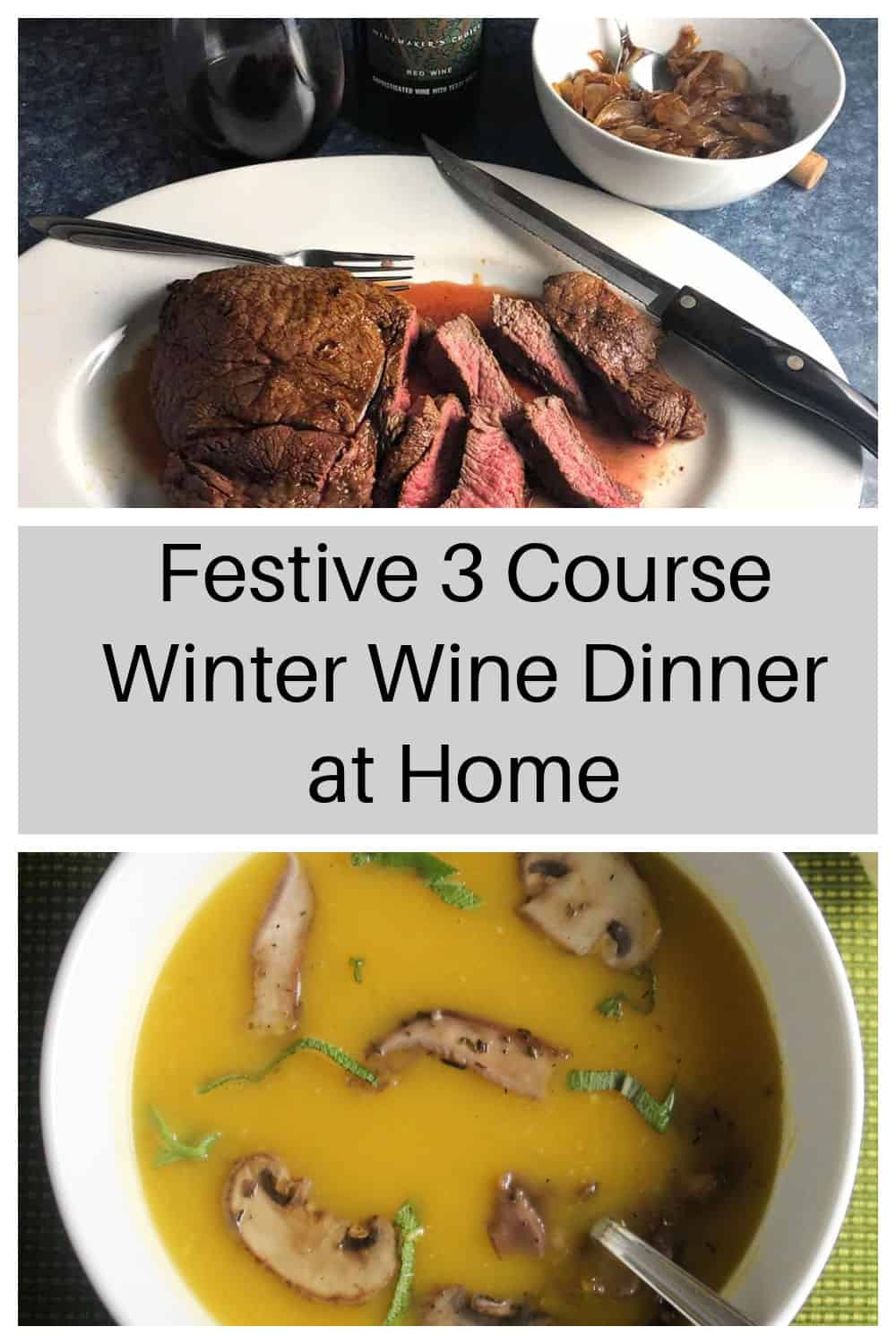 collage with two images showing parts of a 3 course wine pairing dinner you can make at home.