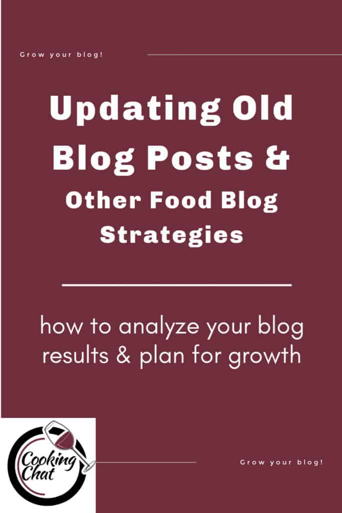 graphic with text about updating old food blog posts.