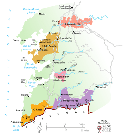 map of Rias Baixas wine region