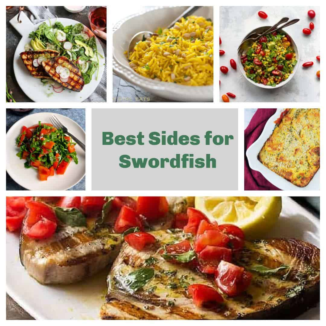 collage with different side dishes to serve with swordfish.