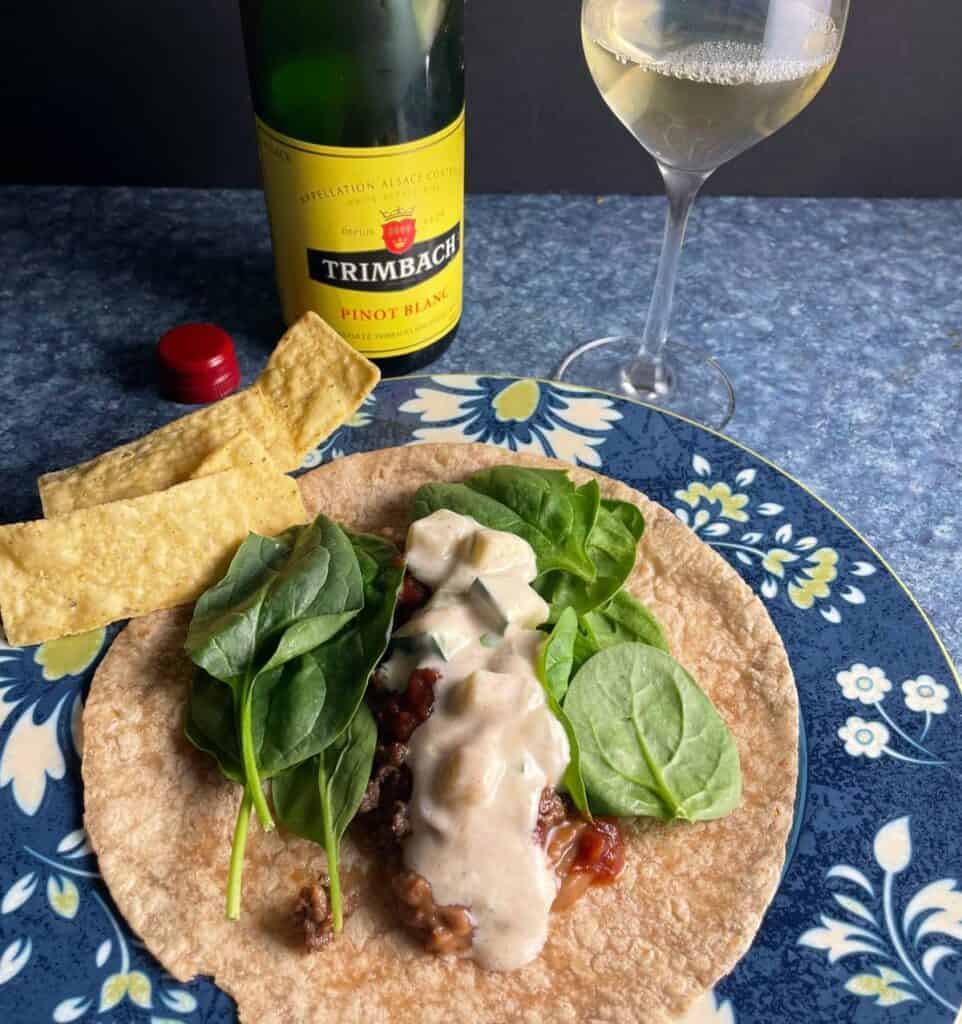 bean tacos with cucumber yogurt topping, served with an Alsace Pinot Blanc.